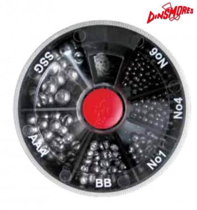 Набор грузил Dinsmores 6 compartment split soft lead shot MINI